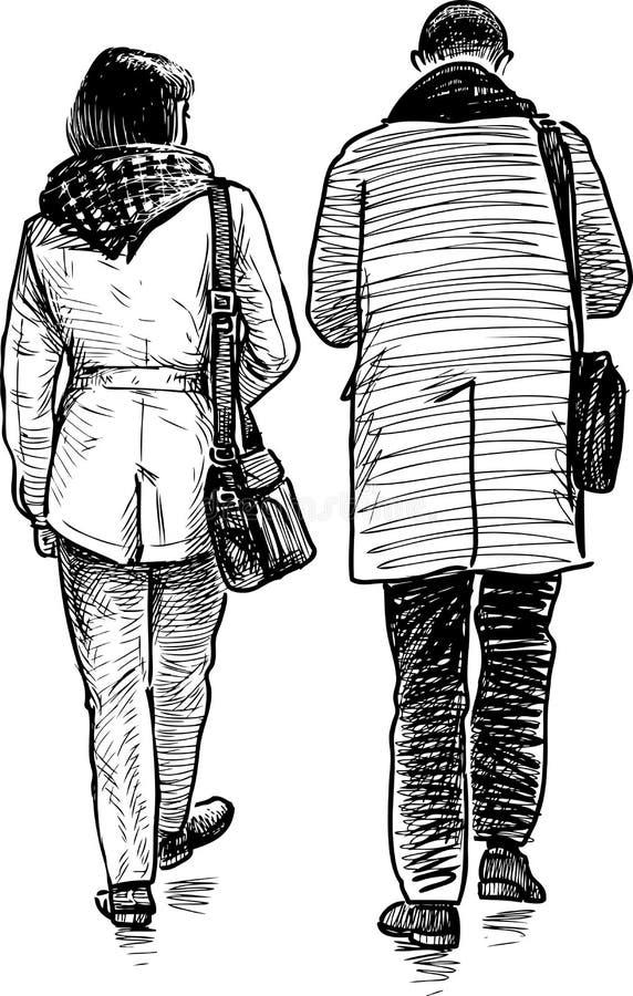 Een paar van het jonge stadslui lopen vector illustratie