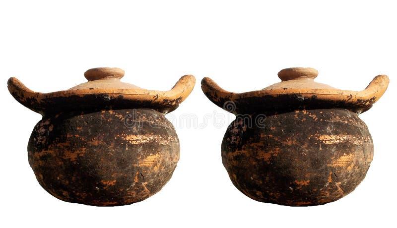 Een paar van het Oude die aardewerk van kleipotten op witte achtergronden wordt geïsoleerd vector illustratie