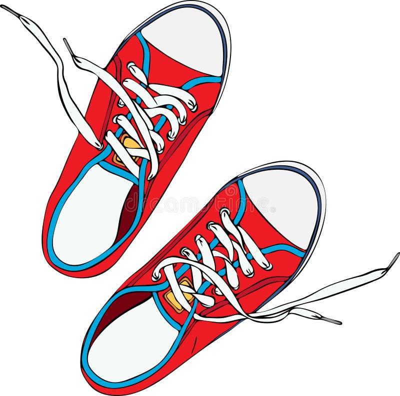 Een paar van rode vertrappelde oude schoen met kant knoopte wit los royalty-vrije illustratie