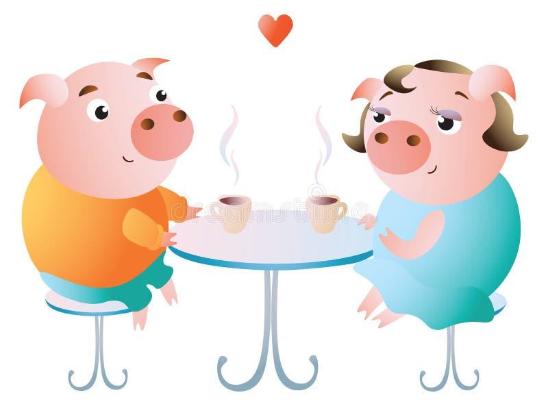 Een paar varkens op een datum in een koffie royalty-vrije illustratie