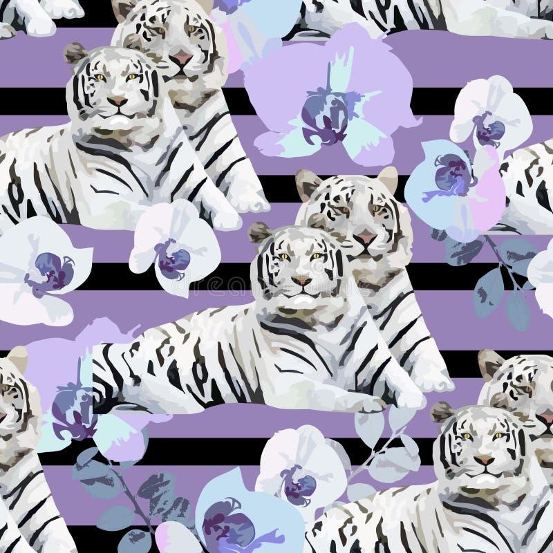Een paar witte tijgers en bloemen vector illustratie