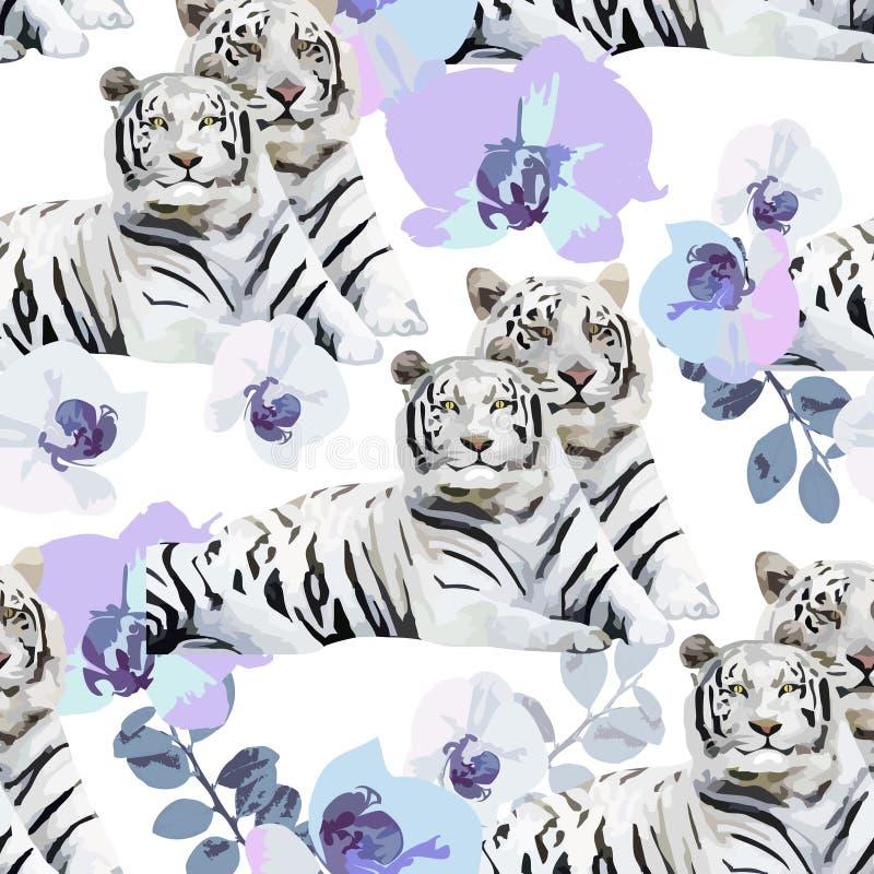 Een paar witte tijgers en bloemen royalty-vrije illustratie
