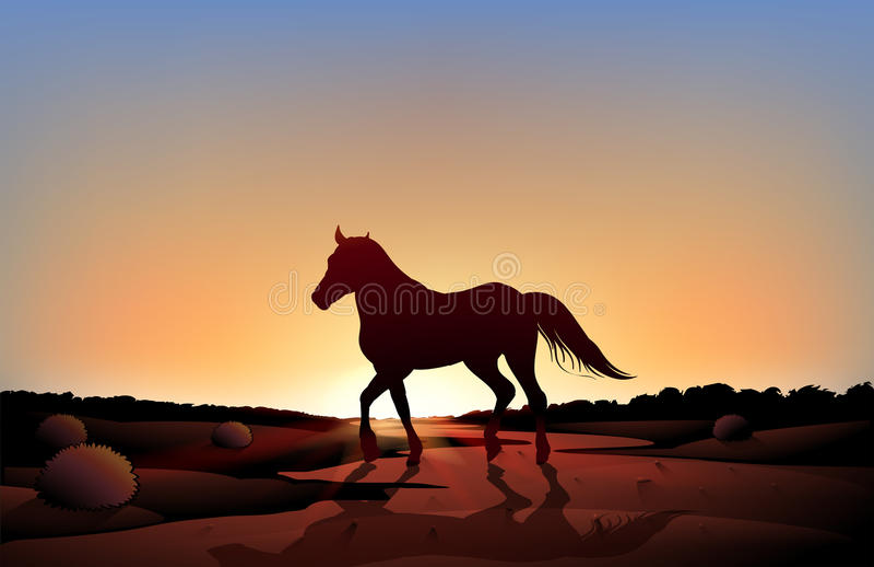 Een paard in een zonsonderganglandschap bij de woestijn vector illustratie