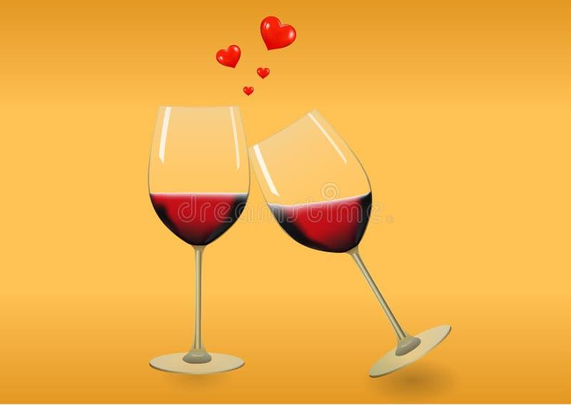 Een paarwijnglas met leuke harten stock illustratie