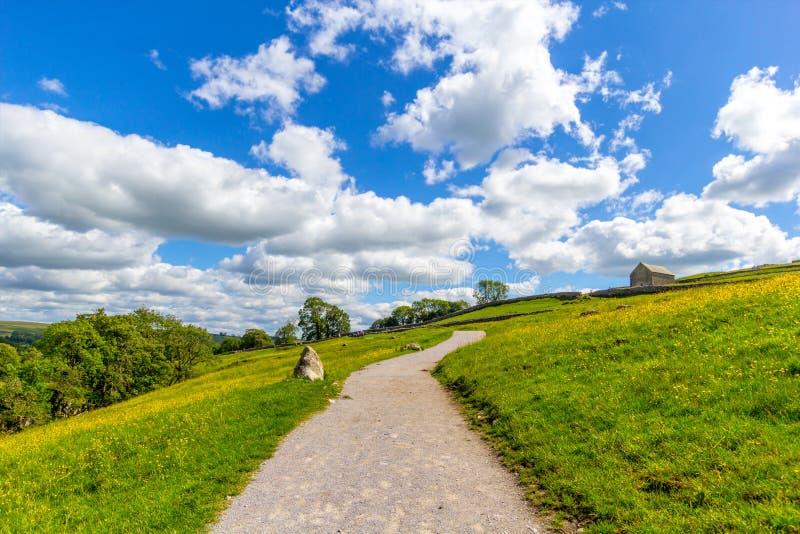 Een pad naar Malham Cove Yorkshire Dales op een mooie zomerdag stock foto