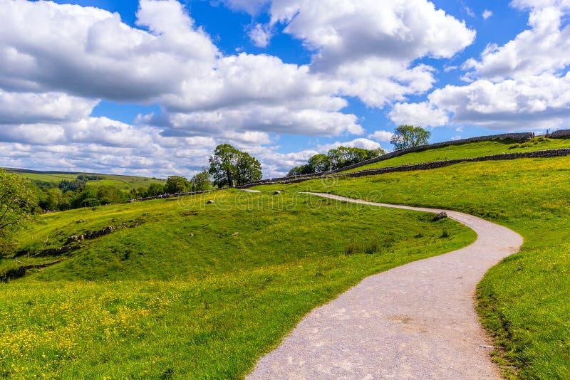 Een pad naar Malham Cove Yorkshire Dales op een mooie zomerdag royalty-vrije stock foto's