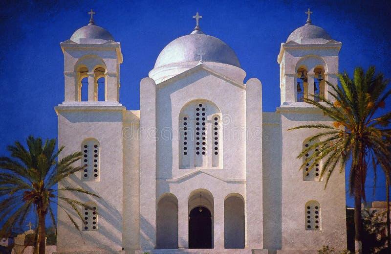 Een Painterly-Effect op een Foto van een Griekse Orthodoxe Kerk stock foto