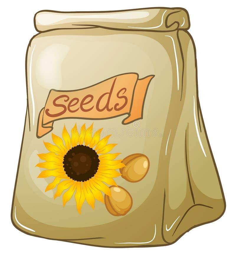 Een pak zonnebloemzaden vector illustratie