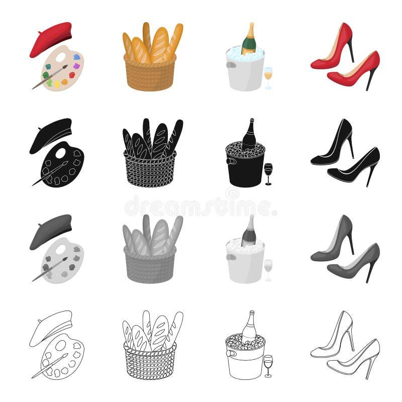 Een palet van kleuren en baret, een Frans brood, gekoelde champagne, vrouwen` s schoenen met hielen Vastgestelde de inzamelingspi stock illustratie