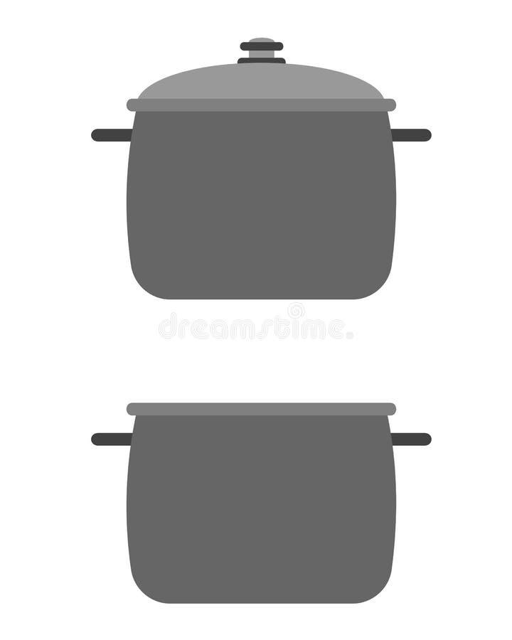 Een pan met een deksel en zonder stock illustratie