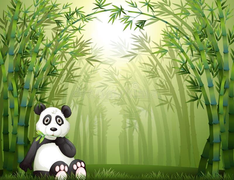 Een panda dragen en het bamboebos royalty-vrije illustratie