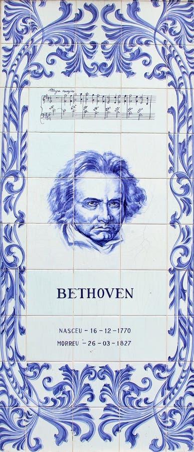 Een paneel die van de blauwe tegels van Azulejos Ludwig van Beethoven afschilderen de Duitse componist en de pianist royalty-vrije stock afbeeldingen