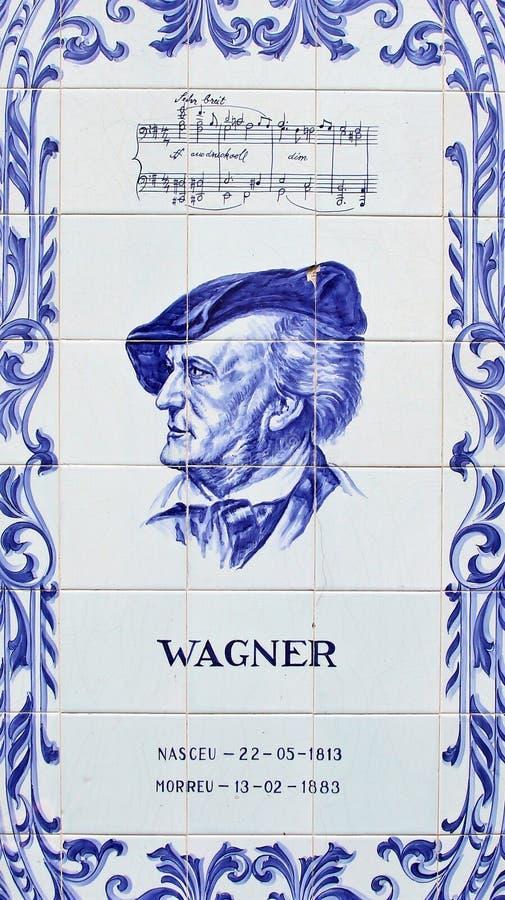 Een paneel die van de blauwe tegels van Azulejos Wilhelm Richard Wagner afschilderen de Duitse componist stock afbeelding