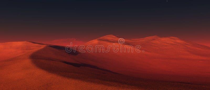 Een panorama van de planeet Mars stock illustratie