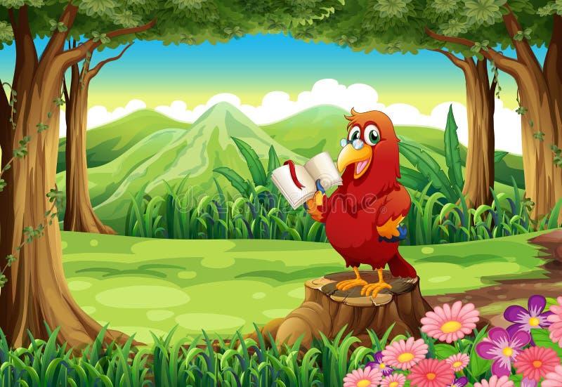 Een papegaai met een boek die zich boven de stomp bevinden stock illustratie