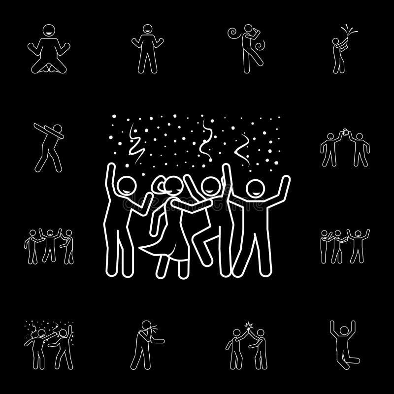 een partijpictogram Gedetailleerde reeks pictogrammen van de mensenviering Premie grafisch ontwerp Één van de inzamelingspictogra royalty-vrije illustratie