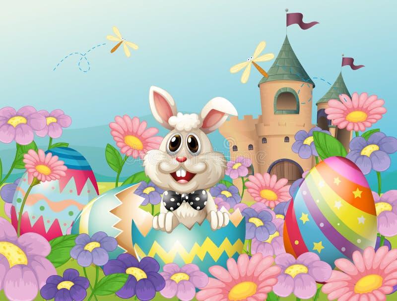 Een Pasen-konijntje in de tuin dichtbij het kasteel vector illustratie