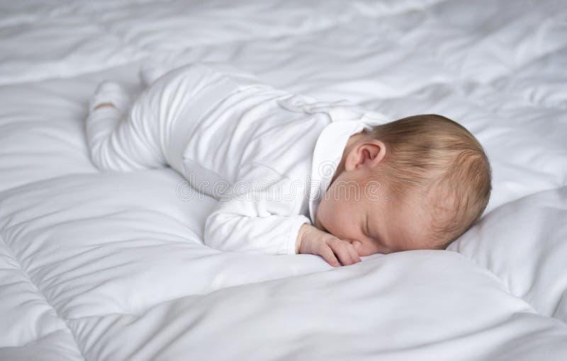 Een pasgeboren babyslaap stock afbeeldingen