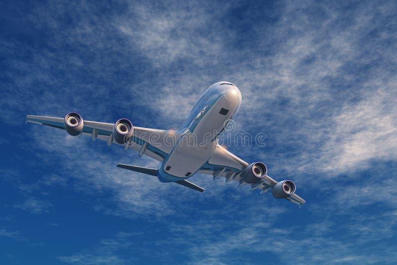 Een passagiersvliegtuig royalty-vrije illustratie
