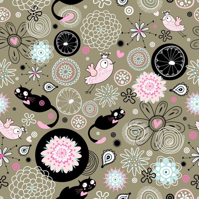 Een patroon van bloemen en katten, vogels stock illustratie