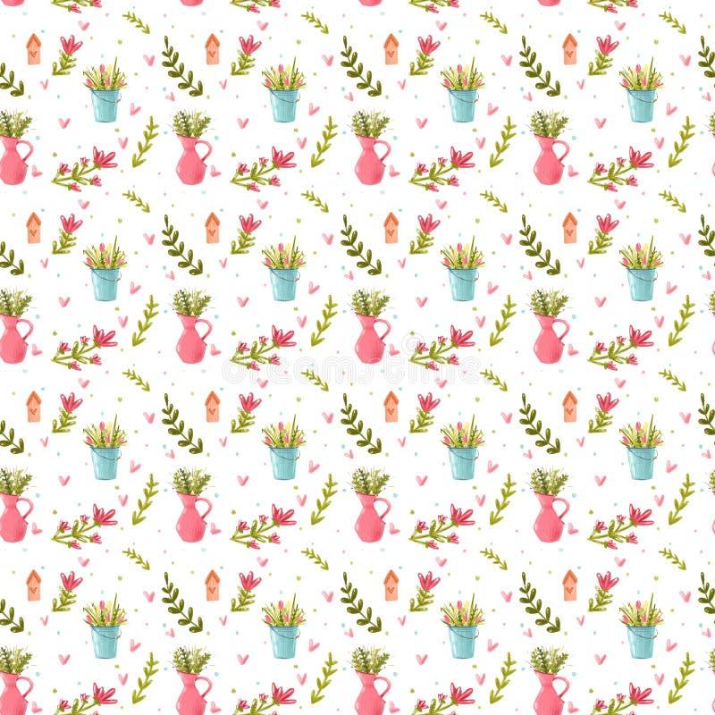 Een patroon van bloemen met een kruik en een emmer stock fotografie