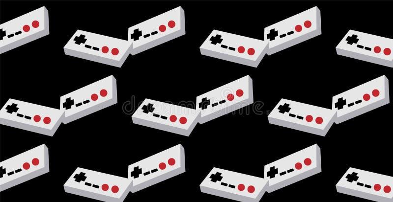 Een patroon van twee zwart-witte en zwarte oude retro uitstekende hipsterbedieningshendels, manipulators, consoles van 80 ` s, 90 stock illustratie
