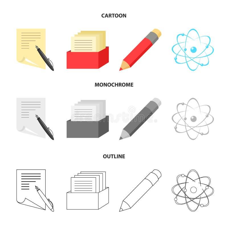 Een pen met document, een catalogus in een vakje, een rood potlood, een atoom met een kern Pictogrammen van de school de vastgest royalty-vrije illustratie