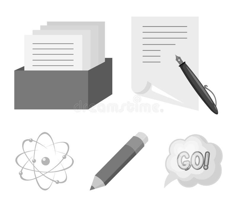 Een pen met document, een catalogus in een vakje, een rood potlood, een atoom met een kern Pictogrammen van de school de vastgest vector illustratie
