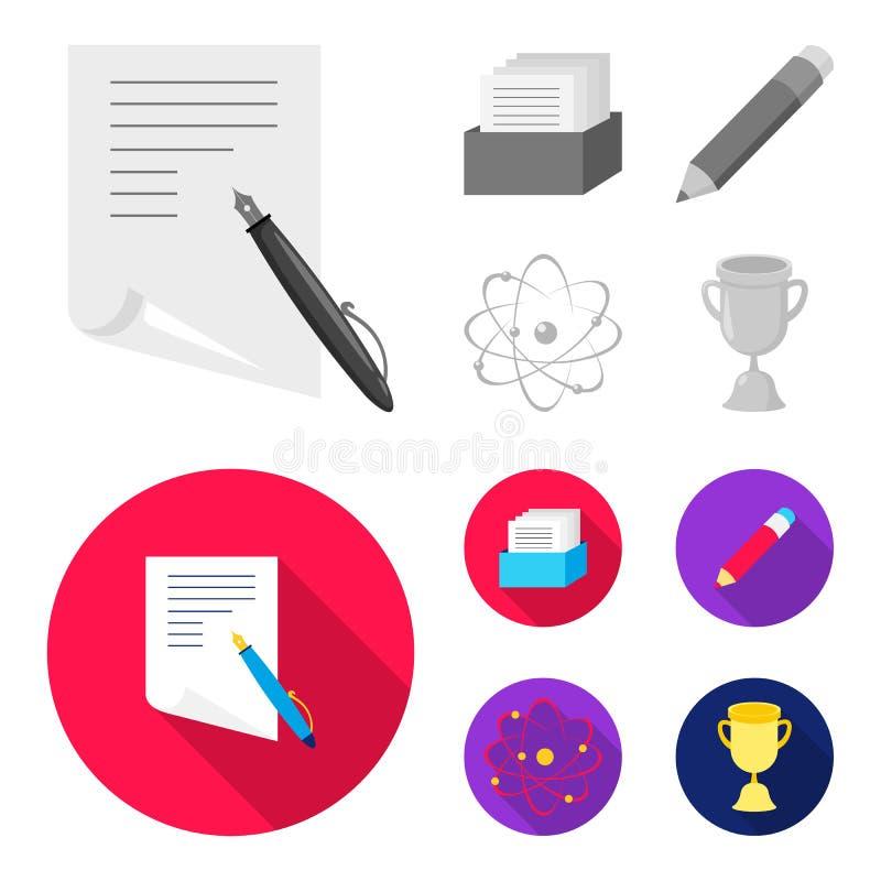 Een pen met document, een catalogus in een vakje, een rood potlood, een atoom met een kern Pictogrammen van de school de vastgest stock illustratie