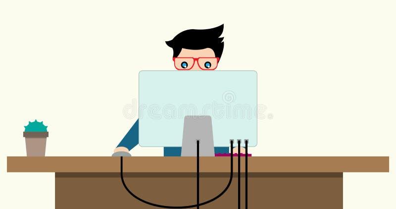 Een persoon die bij de computer werkt vector illustratie