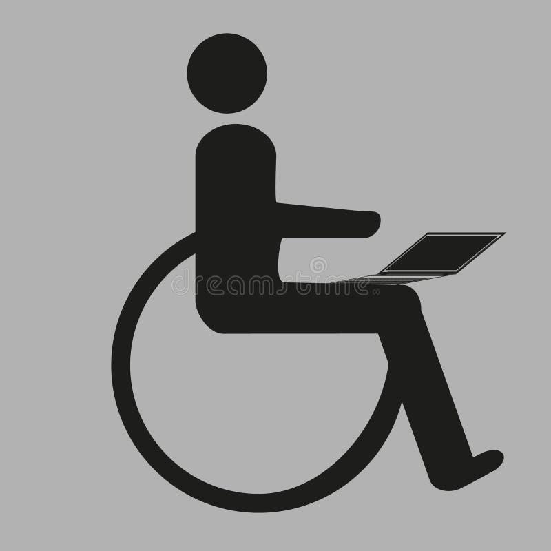 Een persoon met speciale behoeften werkt aan een computer royalty-vrije stock afbeeldingen