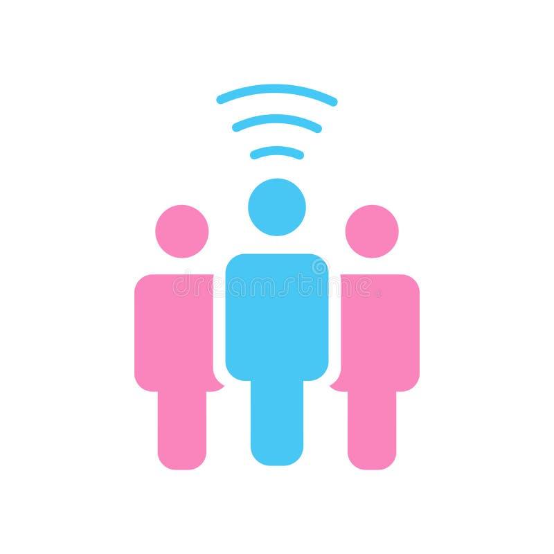 Een persoon van het wifisymbool deelt blog of andere informatie over draadloos breedbandnetwerk, vectordieillustratie op witte ba royalty-vrije illustratie