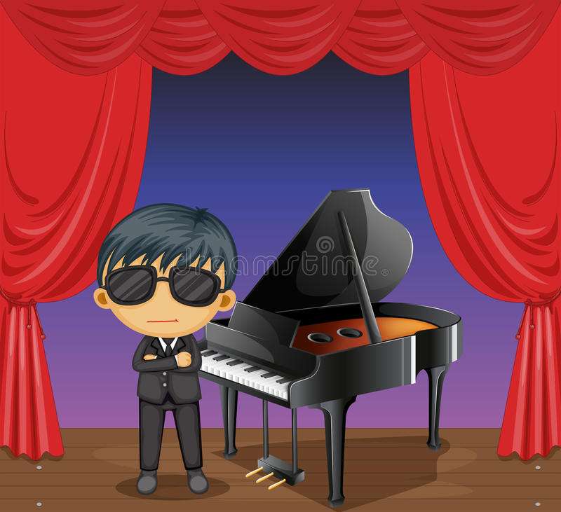 Een piano met een pianist royalty-vrije illustratie