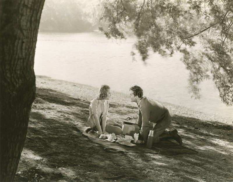 Een picknick door het meer royalty-vrije stock foto