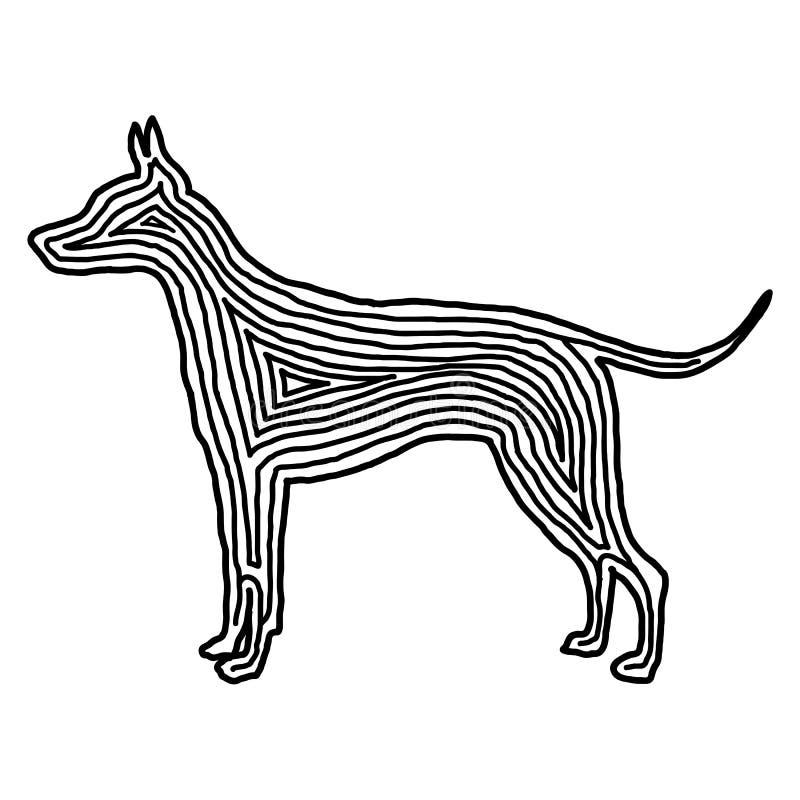Een pictogram van de hondillustratie in zwarte compenseerde lijn Vingerafdrukstijl royalty-vrije illustratie
