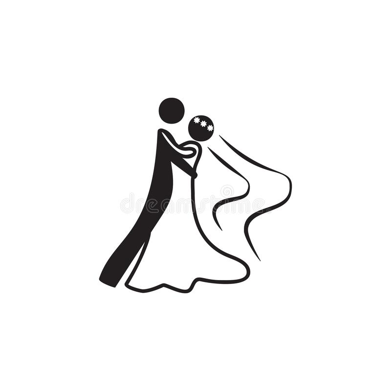 Een pictogram van de huwelijksdans Danselementen Grafisch het ontwerppictogram van de premiekwaliteit Eenvoudig liefdepictogram v stock illustratie