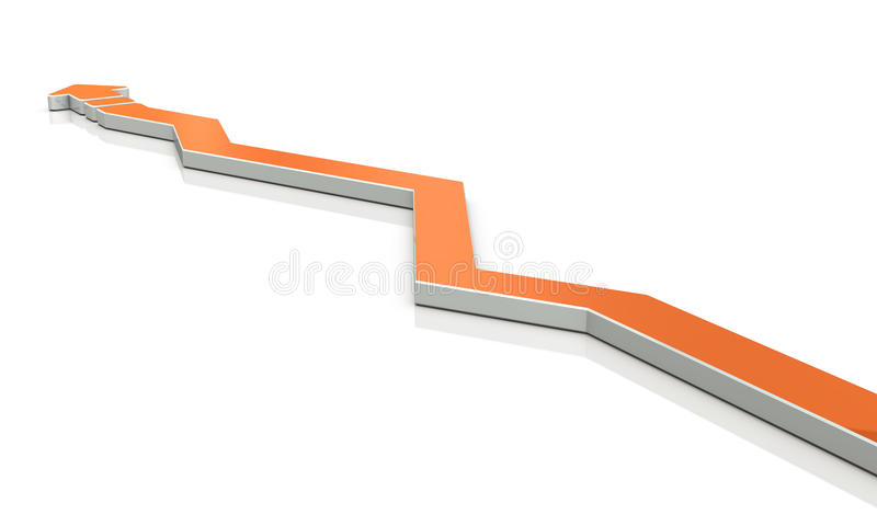 Een pijl brengt de cursus ten val vaak  vector illustratie