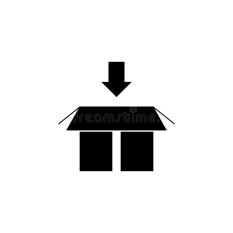 een pijl op de bodem boven het pictogram van de verpakkingsdoos Element van logistisch voor mobiel concept en Web apps pictogram  vector illustratie