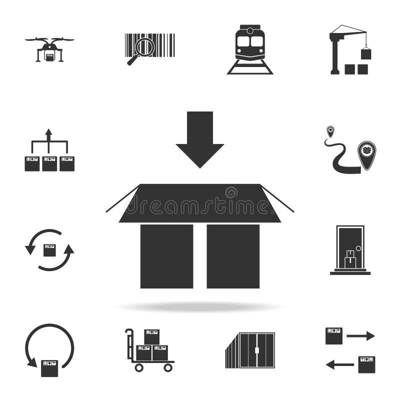 een pijl op de bodem boven het pictogram van de verpakkingsdoos Gedetailleerde reeks logistische pictogrammen Premie grafisch ont vector illustratie