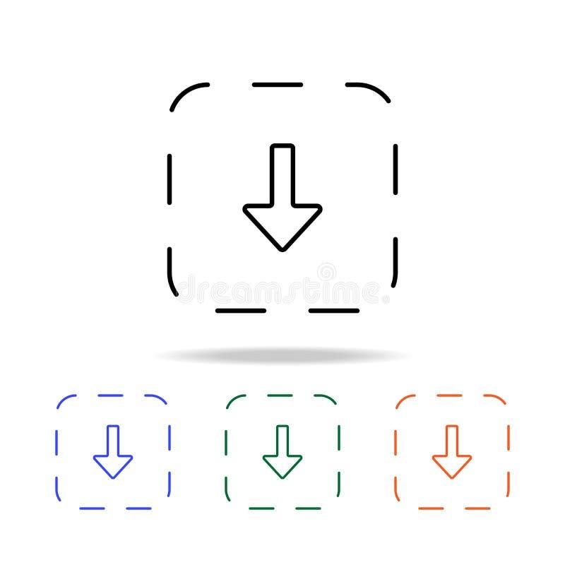 een pijl op de bodem in het gestippelde doospictogram Elementen van eenvoudig Webpictogram in multikleur Grafisch het ontwerppict vector illustratie