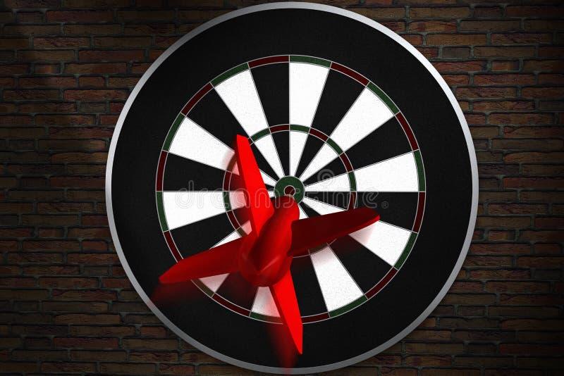 Een pijltje die rechtstreeks aan bullseye vliegen stock illustratie
