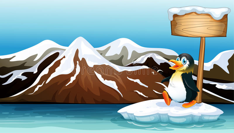 Een pinguïn boven de ijsberg met een leeg houten uithangbord stock illustratie