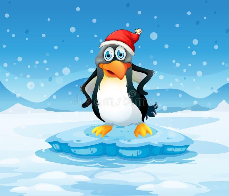 Een pinguïn die de hoed die van de Kerstman dragen zich boven een ijsberg bevinden stock illustratie
