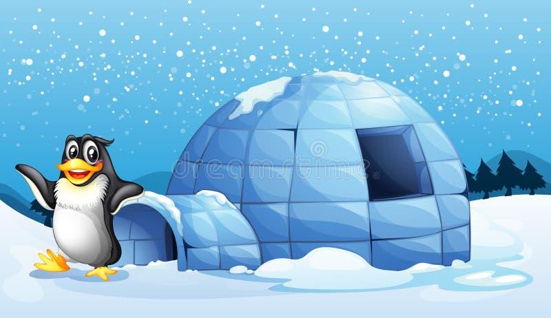 Een pinguïn naast de iglo stock illustratie