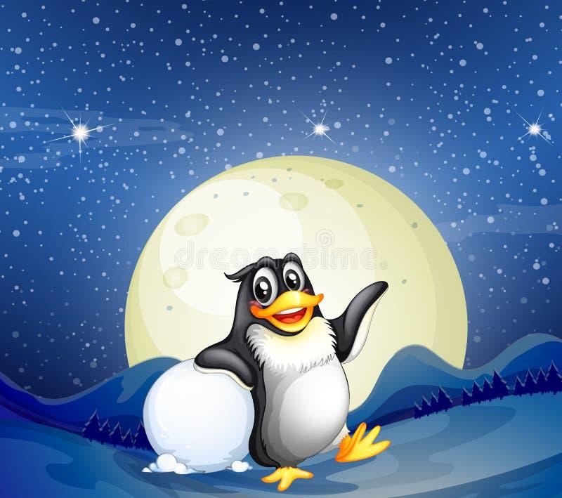 Een pinguïn naast de sneeuwbal royalty-vrije illustratie