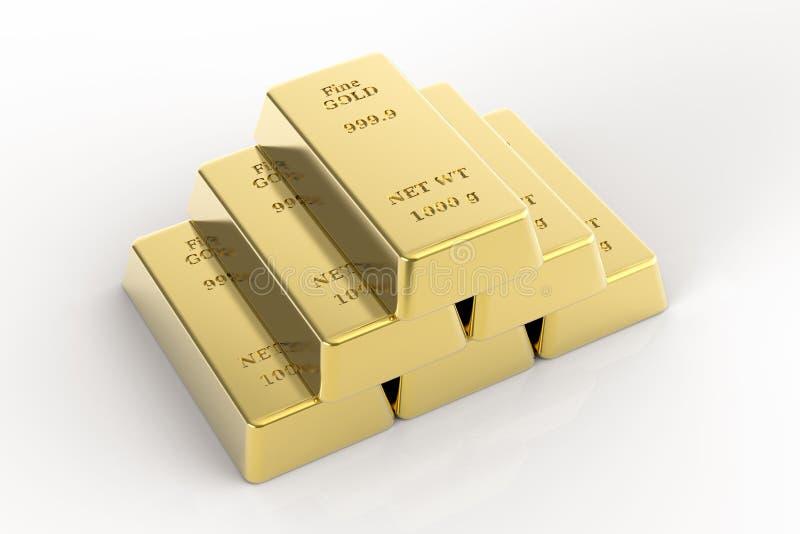 Een piramide van goudstaven stock illustratie