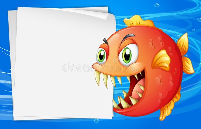 Een piranha onder het overzees naast een leeg document stock illustratie
