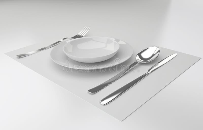 Een plaats die met zilveren vork, messenlepel en witte plat plaatsen royalty-vrije illustratie