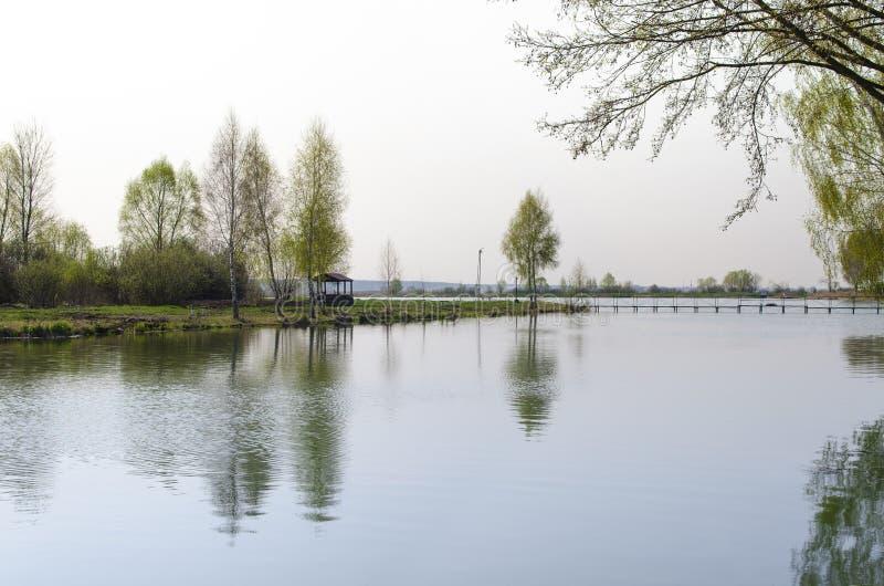Een plaats voor meditatie-houten gazebo bevindt zich op de kust van het Meer dichtbij de jonge bomen royalty-vrije stock afbeelding