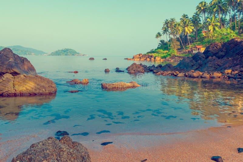Een plaats voor rust en ontspanning - een strand in Zuiden Goa royalty-vrije stock fotografie